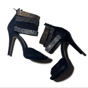 Aldo Studded Black Three Strap Party Heels